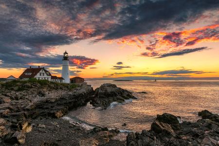 Portland Head Lighthouse in Cape Elizabeth, New England, Maine, USA