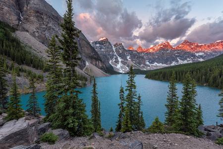 Sunrise at Moraine lake in Canadian Rockies, Banff National Park, Canada.
