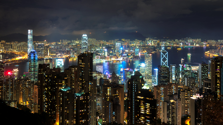 Hong-Kong skyline at night Stock Photo