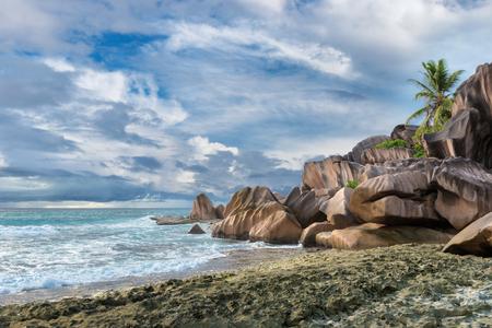 Beautiful rocky beach in seychelles Stock Photo