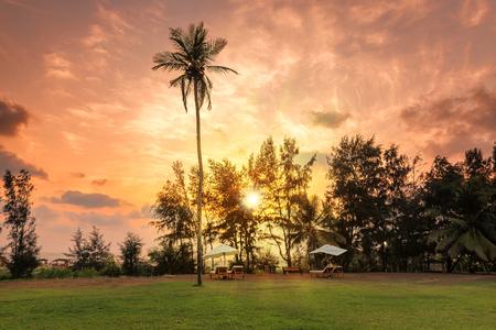 Sunset on Tropical beach in GOA, India. Stock Photo
