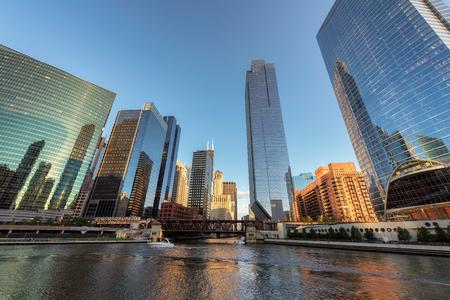 Chicago downtown skyline at sunset, Illinois, USA.
