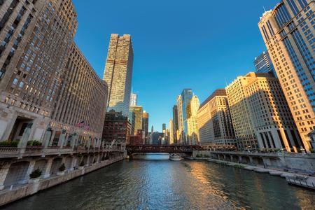 Chicago skyline at sunset, Illinois, USA. Stock Photo