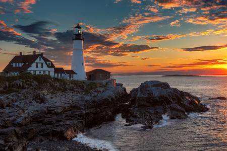 Portland Head Lighthouse in Cape Elizabeth, New England, Maine, USA.