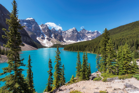 Beautiful turquoise waters of the Moraine Lake in Rocky Mountains, Banff National Park, Canada.