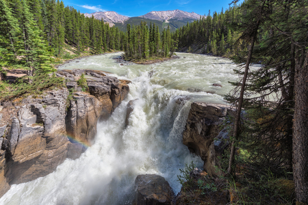 Sunwapta falls in Alberta, Canada.