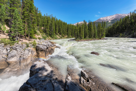 Beautiful view to Sunwapta falls in Alberta, Canada.