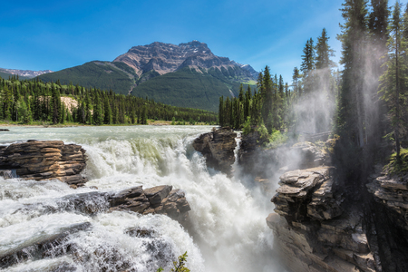Beautiful view to Athabasca falls in Alberta, Canada.