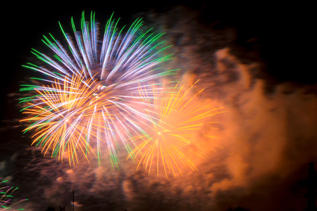 New Year celebration colorful fireworks. New year and holidays concept.