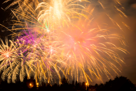 New Year colorful fireworks. New year and holidays concept.