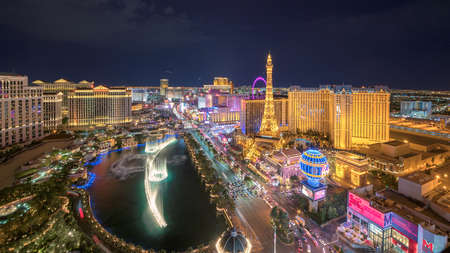 Aerial view of Las Vegas strip in Nevada as seen at night in Las Vegas, Nevada. Las Vegas is one of the top tourist destinations in the world. 新闻类图片