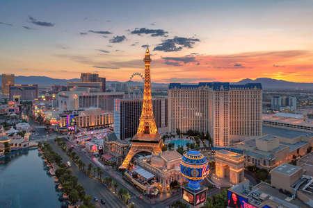 Aerial view of Las Vegas strip in Nevada at sunrise in Las Vegas, Nevada. Las Vegas is one of the top tourist destinations in the world.