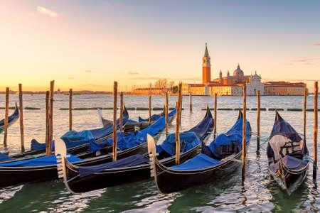 Venice sunrise. Venice gondolas on San Marco square at sunrise, Grand Canal, Venice, Italy