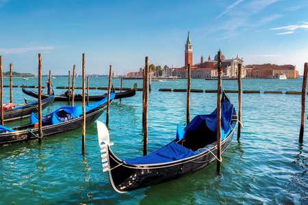 Venice gondolas on San Marco square at sunny day, Venice, Italy.