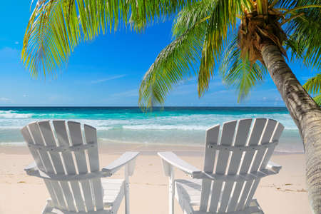 Vacation sandy beach with beach chairs, palm and turquoise sea. Summer vacation and tropical beach concept.