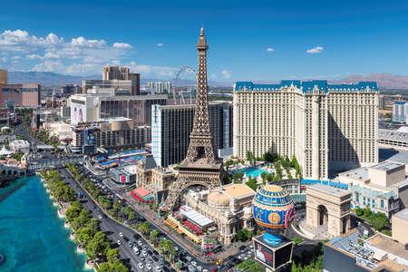 Las Vegas strip skyline as seen at sunny dayin Las Vegas, Nevada. Las Vegas is one of the top tourist destinations in the world. 新闻类图片