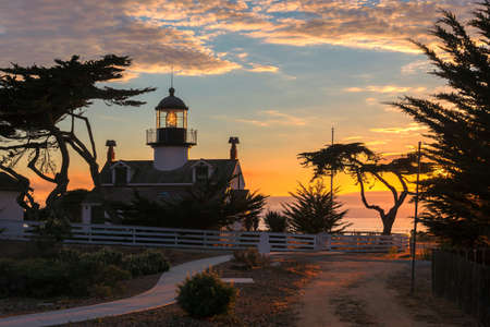Lighthouse at sunset. Point Pinos lighthouse in Pacific Grove, Monterey, California.