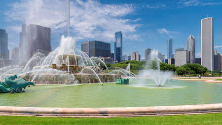 Chicago skyline panorama with skyscrapers and Buckingham fountain at summer sunny day, Chicago, Illinois, USA.