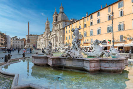 Piazza Navona in morning in Rome, Italy, Europe. Rome Navona Square is one of the best landmarks of Italy and Europe.