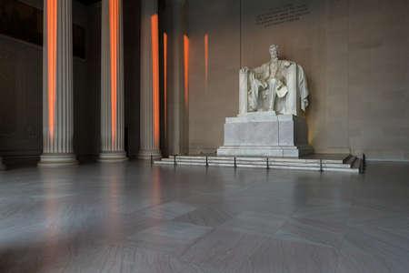 Lincoln Memorial illuminated at sunrise in Washington DC