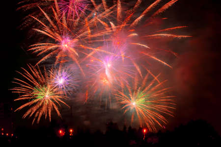 New Year celebration colorful fireworks display. New year and event concept.