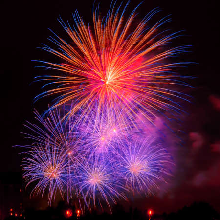 Colorful fireworks in New Year celebration. New year and holidays concept. 免版税图像 - 152428714