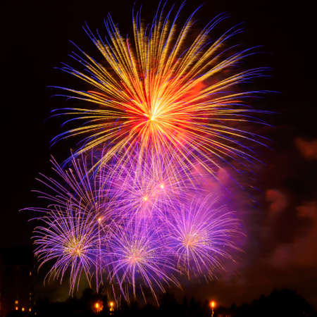 Colorful fireworks in New Year celebration. New year and holidays concept.