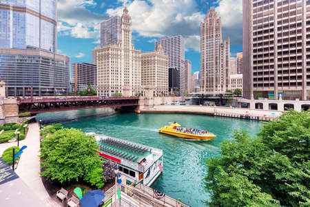 Chicago downtown and Chicago River with bridges at sunny summer day