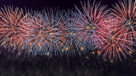 Colorful fireworks in New Year celebration. New year and holidays concept. 免版税图像 - 152428720