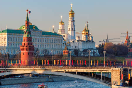 Moscow skyline with Kremlin Wall, towers and Grand Kremlin Palace. Moscow Russia.