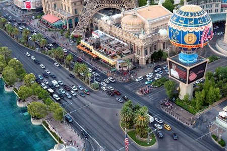 Aerial view of Las Vegas Strip at daytime in Las Vegas, USA. The Strip is home to the largest hotels and casinos in the world.