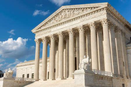 United States Supreme Court Building at sunset in Washington DC, USA.