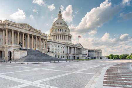Washington DC, United States landmark. National Capitol building with US flag.
