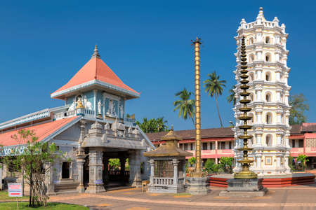 Panorama of Shri Mahalsa Indian Temple in Ponda, GOA, India. The opulent Mahalsa temple is one of the most famous temples in Goa.