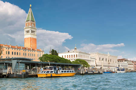 Venice, Italy. Grand canal - Piazza San Marco with Campanile and Doge Palace.