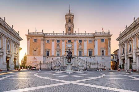 Sunrise at Capitol in Rome, Italy. Piazza del Campidoglio in Capitoline Hill, Rome, Italy.