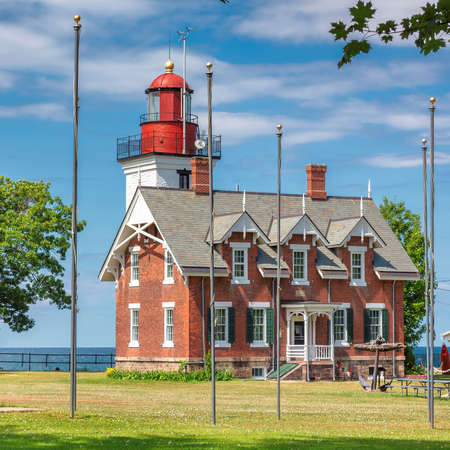 Dunkirk Lighthouse, Lake Erie, New York, USA 免版税图像