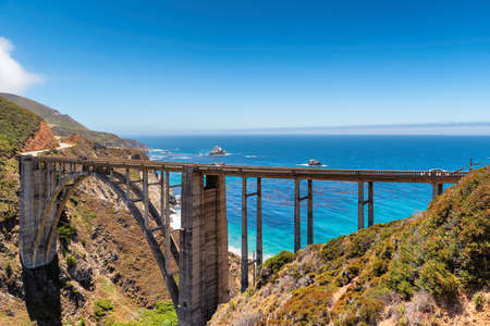 Bixby Bridge on Pacific Coast Highway (highway 1) near Big Sur, California, USA.