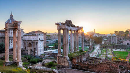 Rome at Sunrise. Beautiful view of the Roman Forum ruins in Rome, Italy