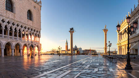 San Marco piazza at sunrise, Venice, Italy