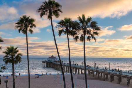 Sunset at California beach, Manhattan Beach, Los Angeles, USA.