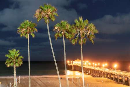 Night at California beach, Manhattan Beach, Los Angeles, USA.