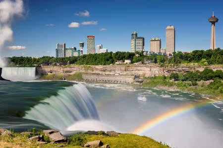 Niagara Falls, rainbow and tourist ship, Niagara Falls, NY, USA