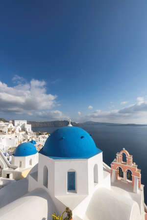 White and blue Santorini island, Greece.