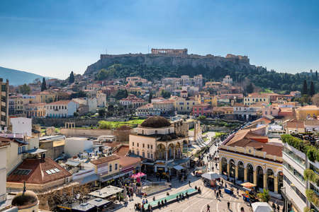 Panoramic view of old town of Athens and the Acropolis with Parthenon Temple, Athens, Greece.
