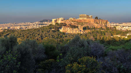 Panoramic view of the Acropolis of Athens, with the Parthenon Temple at sunset, Athens, Greece.