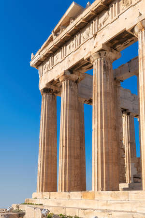 Parthenon temple at sunny day on the Acropolis in Athens, Greece