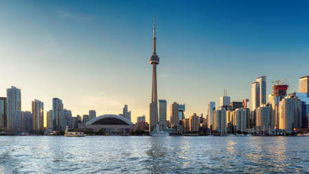 Toronto skyline and CN Tower at sunset - Toronto, Ontario, Canada. Stock Photo