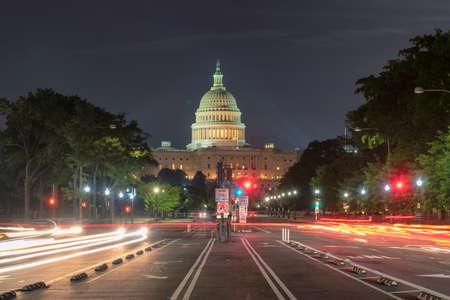 Night view at Washington DC Capitol Building at night from Pennsylvania Avenue, Washington DC, USA