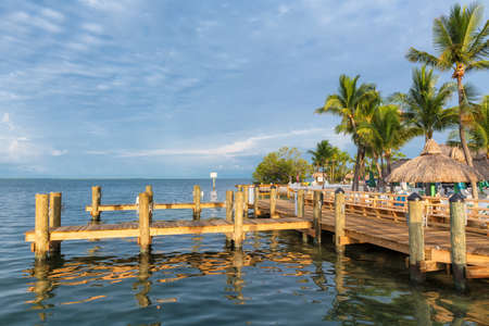 Tropical beach with palm trees, resort and Marina in Keys with Caribbean sea view.